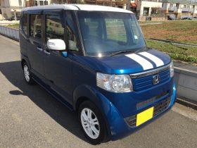 車名:N-BOX+Gターボパッケージ、年式:平成25年7月、型式:DBA-JF1、色:ブルーⅡ